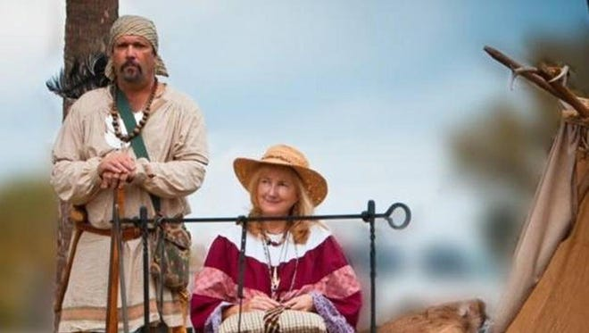 Donald VerWiebe and his wife Sarah during a Seminole encampment re-creation.