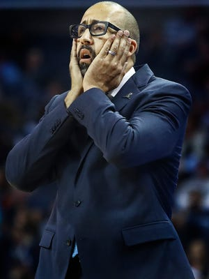 Memphis Grizzlies head coach David Fizdale reacts to an officials call during action against the Dallas Mavericks at the FedExForum in Memphis, Tenn., Thursday, October 26, 2017.