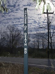 A road sign for Shades of Death Road in the Allamuchy Township, N.J., is shown Thursday, Oct 24, 2002.  )