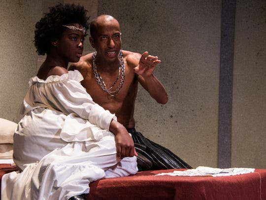"""Ernaisja Curry (L) plays Lady Shirley, a favorite concubine of the Sheriff of Nottingham, played by Geoffrey Barnes (R) in Adam Szymkowicz's """"Marian, or the True Tale of Robin Hood,"""" the opening production of Know Theatre of Cincinnati's 20th season."""