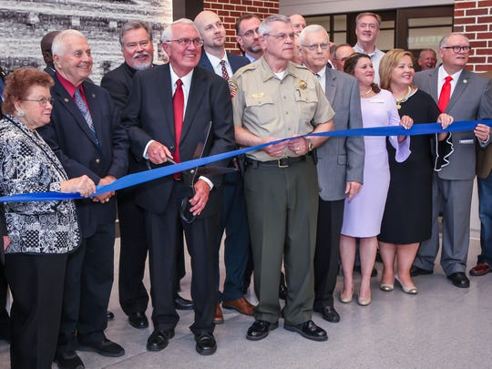 Rutherford County officials cut the ribbon on the new judicial center on Wednesday, April 25, 2018.