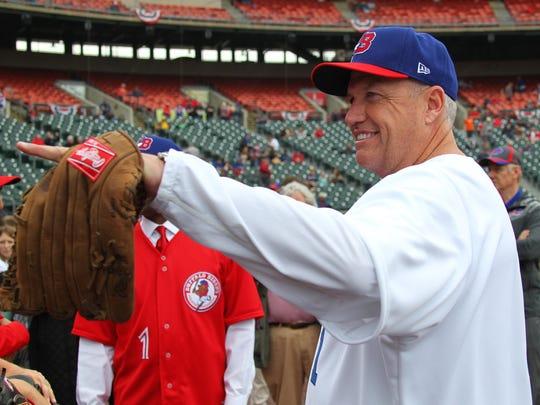 Buffalo Bills head coach Rex Ryan greets fans before
