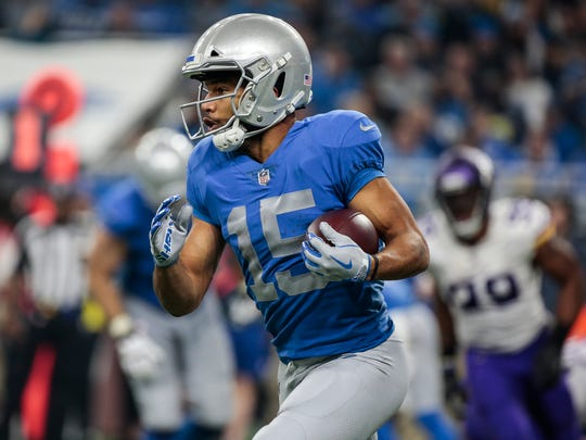 Golden Tate runs against the Vikings in the second half of the Lions' 30-23 loss at Ford Field, Thursday, Nov. 23, 2017.