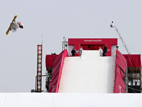Kyle Mack (USA) in the men's snowboard big air finals