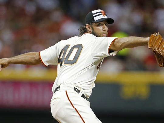 National League pitcher Madison Bumgarner of the Giants delivers a pitch in the fourth inning during the 2015 MLB All-Star Game.