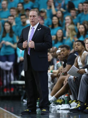 Michigan State coach Tom Izzo on the bench during the first half against Wisconsin on Friday, Jan. 26, 2018, at Breslin Center.