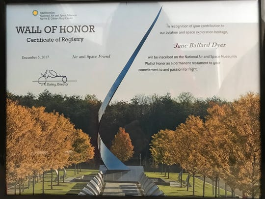 Wall of Honor Certificate of Registry for Jane Dyer