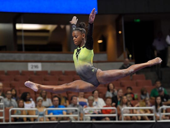 Trinity Thomas recently committed to continue her college gymnastics career for the powerhouse University of Florida program. AP FILE PHOTO
