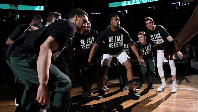 Michigan State Spartans forward Nick Ward (44) leads his team onto the court prior to a game against the Savannah State Tigers at Jack Breslin Student Events Center. Dec 31, 2017; East Lansing, MI