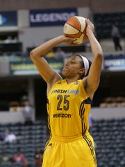 Indiana Fever guard Marissa Coleman (25) hits a three point shot during a game between the Indiana Fever and the Los Angeles Sparks at Bankers Life Fieldhouse in Indianapolis, Wednesday May 24, 2017.