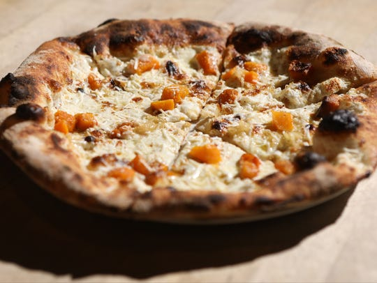 A pumpkin pizza is shown at Razza in Jersey City, Tuesday,