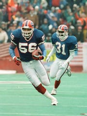 Linebacker Darryl Talley returned a Jay Schroeder pass 27 yards for a touchdown late in the first quarter as the Buffalo Bills took a 21-3 lead en route to a 51-3 rout of the Oakland Raiders in the 1990 AFC Championship game on Jan. 20, 1991.