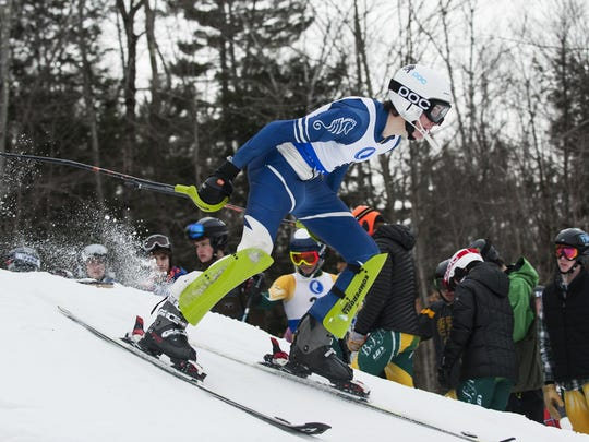 Burlington's Schuyler MacDonald takes off from the starting gate earlier this season at Cochran's Ski Area.