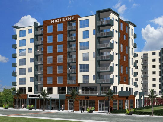 This artist's rendering depicts the eight-story Highline development at the old Melbourne High site, as seen from New Haven Avenue.