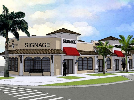 A rendering of a new retail center planned to replace warehouse units on the Victoria Square property at Central Avenue and 12th Street South in Naples. One or two restaurants are expected to locate here.