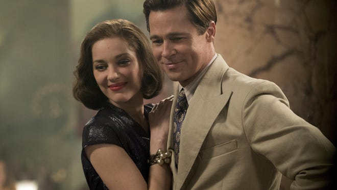 """Marion Cotillard, left, and Brad Pitt appear in a scene from """"Allied."""""""