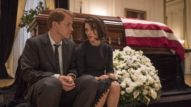 "Peter Sarsgaard is Bobby Kennedy, left, and Natalie Portman is Jackie Kennedy in a scene from ""Jackie."""