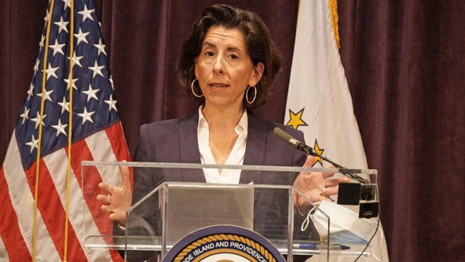 Gov. Gina Raimondo delivers her daily coronavirus briefing on Thursday.