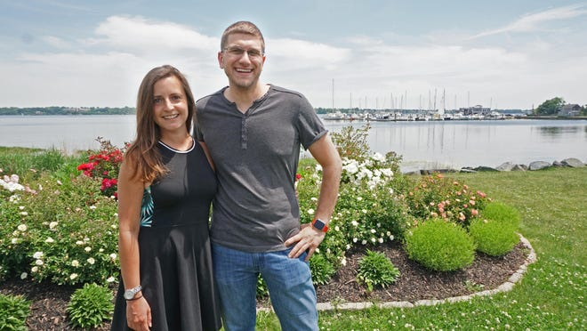 Jamie Resnick and Justin Cicerone, shown here at Stillhouse Cove in Cranston, have been planning their July 4 wedding on Block Island for more than two years. But COVID-19 restrictions have sent them on a roller-coaster over whether they'll actually be able to pull it off.