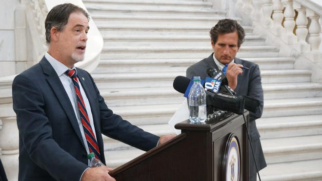 Rep. Michael Chippendale describes options for learning proposed by House Republicans on Thursday at the State House. With him is House Minority Leader Blake Filippi.