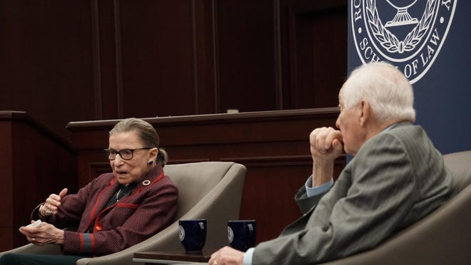 """U.S. Supreme Court Justice Justice Ruth Bader Ginsburg takes part in a """"fireside chat"""" with 1st U.S. Circuit Court of Appeals Senior Judge Bruce M. Selya at Roger Williams University School of Law in January 2018."""