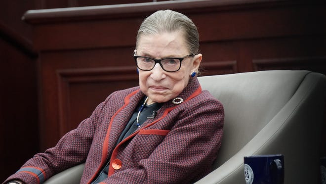 U.S. Supreme Court Justice Justice Ruth Bader Ginsburg appears at Roger Williams University in 2018.