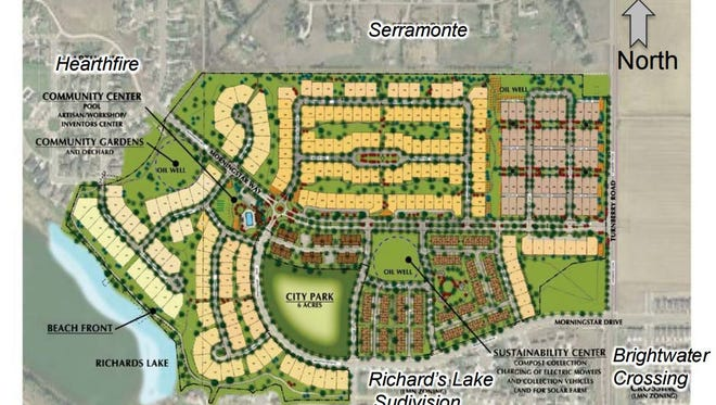 This site plan for the Waters Edge subdivision shows the proposal and its proximity to established neighborhoods.