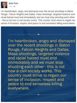 Rep. Sam Farr (D-Carmel) expressed outrage over the shootings in Dallas, Louisana and Minnesota.