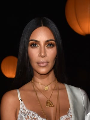 Kim Kardashian attends the Givenchy show as part of Paris Fashion Week.