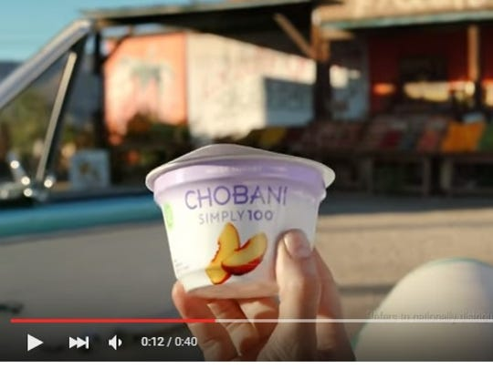 An image from a Chobani commercial for its Simply 100 Greek Yogurt.