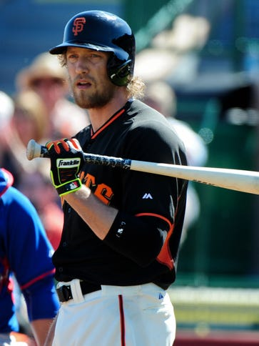 Hunter Pence was hit by a pitch from Corey Black of