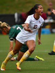 Florida State sophomore striker Deyna Castellanos has opened up the season on a tear, scoring four goals in four games