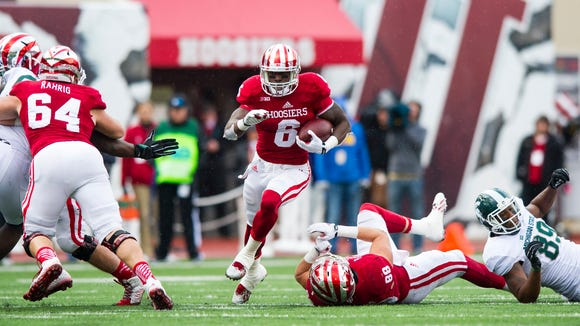 Indiana University junior Tevin Coleman (6) rushes