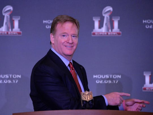 Feb 8, 2016; San Francisco, CA, USA; NFL commissioner Roger Goodell reacts during Super Bowl LI press conference at the Moscone Center. Mandatory Credit: Kirby Lee-USA TODAY Sports