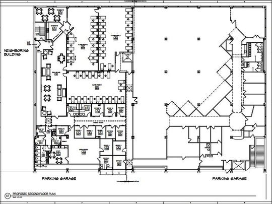 This shows the layout of the proposed renovations for the second floor of the Rothschild Building on the Commons in Ithaca.