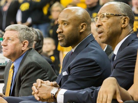 Iowa assistant coaches Kirk Speraw, from left, Andrew