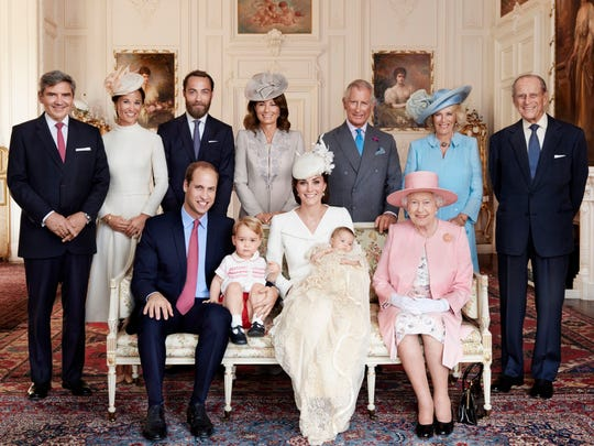 Prince William, seated left, Kate, Duchess of Cambridge,