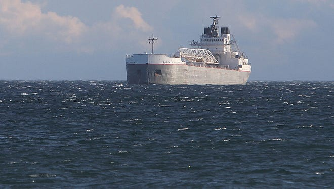 The Robert S. Pierson, anchored off Irondequoit to wait for calmer weather in November 2013.