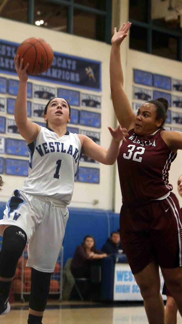 Westlake's Natalie Alfieri drives to the basket against
