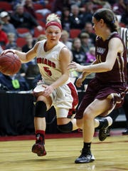 Elle Ruffridge of Pocahontas Area drives to the basket in a quarterfinal game of the state tournament against Mount Vernon on Tuesday.