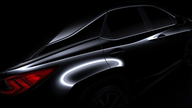 Lexus teases with this shot of the 2016 RX. The vehicle will be unveiled at the New York auto show April 1.