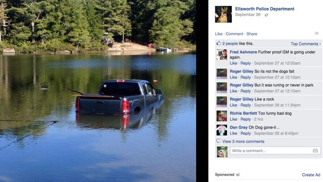 Police in Maine said a small dog did big damage, when it knocked its owners pickup truck out of gear and drove it into a lake.