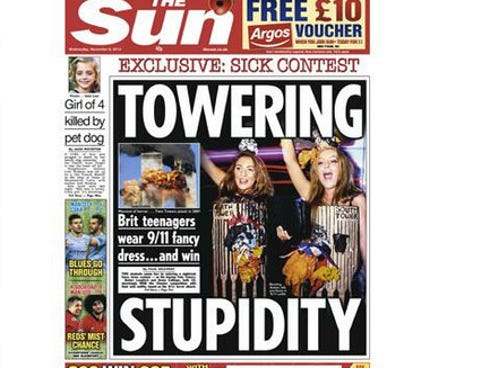 The front page of Britain's The Sun newspaper on Nov. 6, 2013.