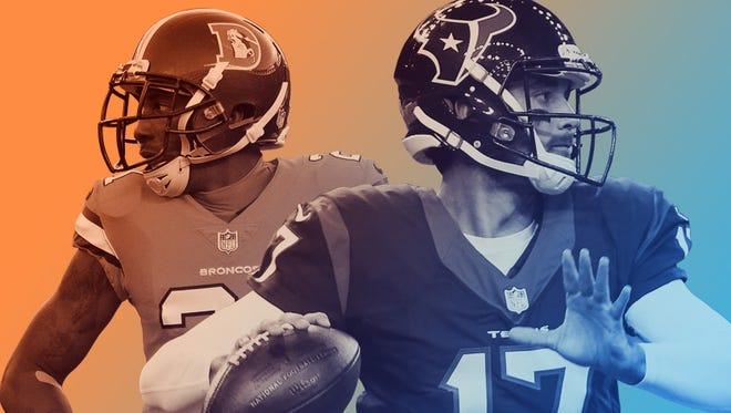 Broncos CB Aqib Talib and Texans QB Brock Osweiler (17), Talib's former teammate.