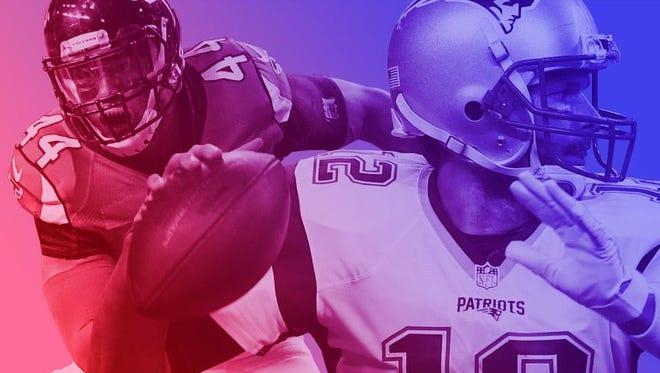 Patriots QB Tom Brady (12) and Falcons OLB Vic Beasley.