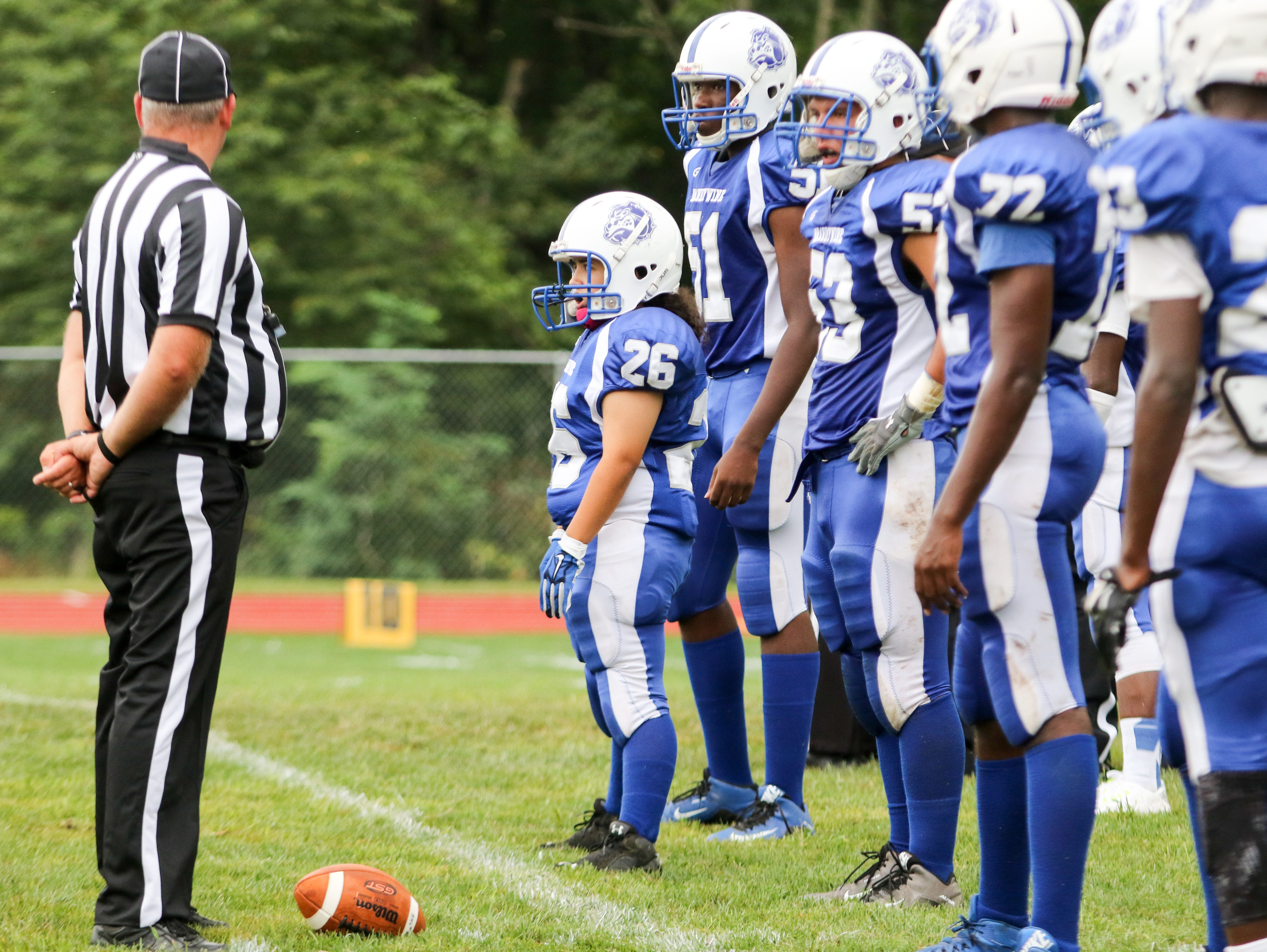 Felicia Perez stands at the line of scrimmage during a game last season against Mount Pleasant.