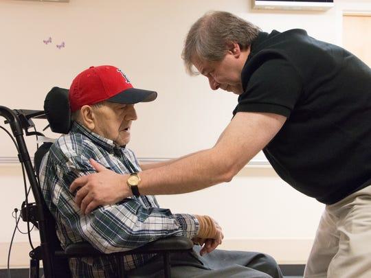 Nick Bonanno talks with his father, World War II veteran