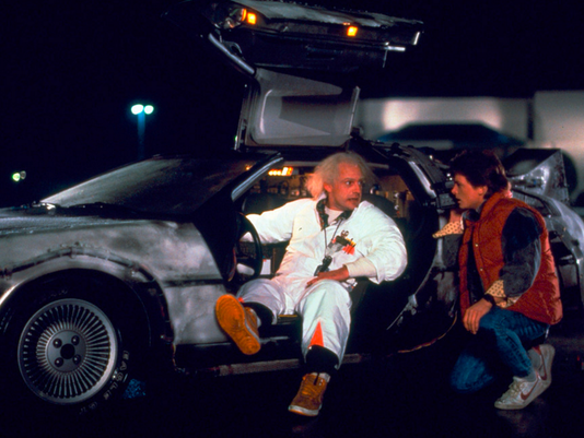 "This photo shows Christopher Lloyd, left, as Dr. Emmett Brown, and Michael J. Fox as Marty McFly in the 1985 film, ""Back to the Future."""