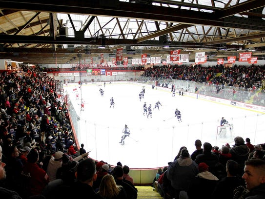 A packed Lynah Rink watched Cornell and Yale tie, 2-2,