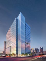 A rendering of the first office tower to be constructed in place of the old Deja Vu strip club.
